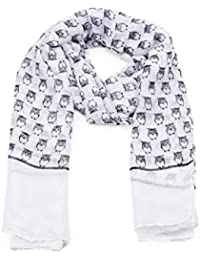 Black Small Owl Print Wide White Scarf