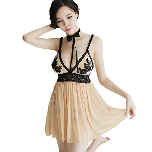 Zyxf Sexy Dessous, Knospe Seide Gaze Strap Nachthemd Sexy Pyjamas Versuchung Außenhandel Transparent (Farbe : Beige) (Unterwäsche Herrschen)