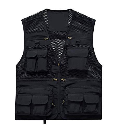 Fischen Fotografie Weste mit Taschen Herren Mesh Quick-Dry Weste Outdoor Jacken für Reisende (Color : Blank, Size : XL) -