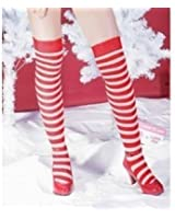 RED AND WHITE STRIPE OVER THE KNEE STOCKING SOCKS
