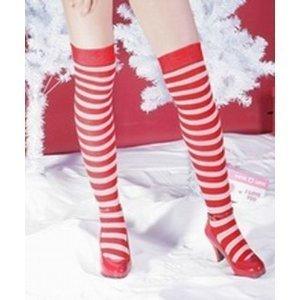 Fifi Overknee-Strümpfe, Socken, rot-weiß gestreift (Fifi Für Erwachsenen Kostüm)