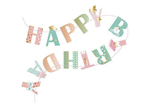 SUNBEAUTY HAPPY BIRTHDAY Girlande Rosa & Mint Mädchen Geburtstag Dekoration