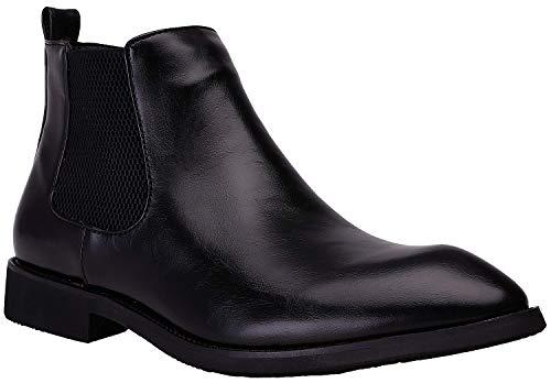 JINBEILE Hombres Botas Botines Chelsea & Chukka Boots Negro Cuero Zapatos B- Negro 39