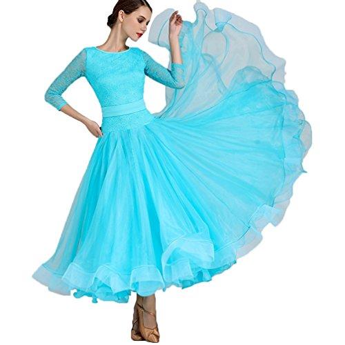 Kostüm Dance Muster Latin Nähen - HAOBAO Elegant Einfach Ballsaaltanz Kleider Big Swing Rock Spitze Nähen Klassisches Walzer Tango Modern Dance Performance Kostüm Exam Dance Kleidung, XL