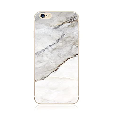 MUTOUREN Marble Series Phone Cases for iPhone 6 Plus/6S Plus TPU Silicone Soft Clear Shell Transparent Durable High-quality lifelike Novel cases Anti-shock Scratch-resistant Ultra-thin slim Gel Bumper accessories case Realistic Marble Pattern Gray White