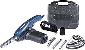 FERM EFM1001 Lime électrique 400W Incl. bras large 13mm, bras étroit 8mm, bras incliné 13mm, 12 bandes abrasives