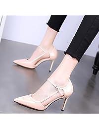 GTVERNH comfort/scarpe da donna/singola punta scarpe alla moda 9?cm tacco scarpe estate scarpe, rosa, Thirty-nine