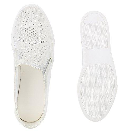 Damen Slip-ons Kroko Optik Sneakers Metallic Slipper Bequem Weiss Steinchen