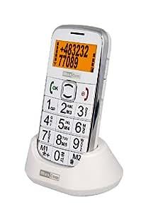 MaxCom MM460 Téléphone portable GSM blanc de haute qualité et convivial – Touches larges / Touche SOS d'appel d'urgence / Radio FM / Lampe de poche / Livré sans carte Sim (Débloqué) / Support