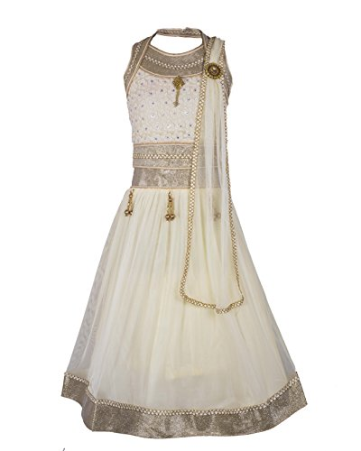 My Lil Princess Baby Girls Birthday Party wear Frock Dress_White Silver Lehenga...