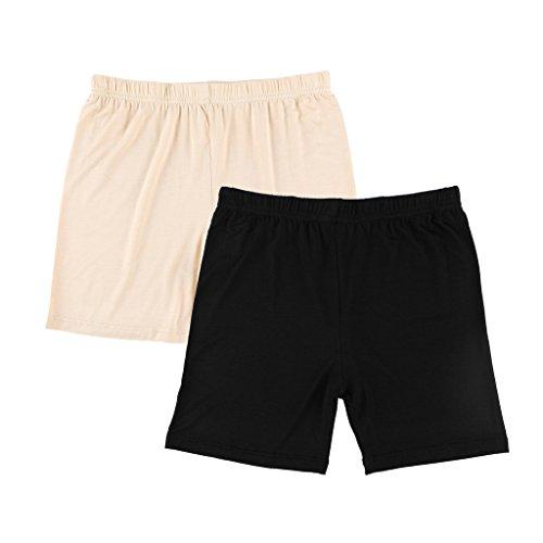 Liang Rou Damen Elasthan kurz Leggings 2-Pack Plain Farbe Schwarz/Aprikose M