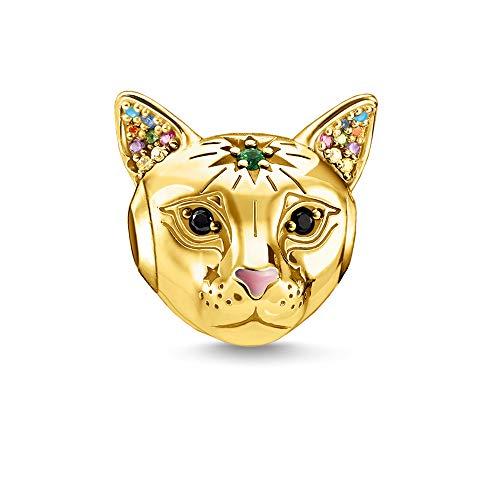 Thomas Sabo Damen-Bead Katze gold 925 Sterlingsilber  gelbgold vergoldet blau K0327-471-7