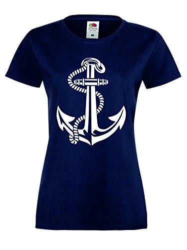 Anker Damen T-Shirt Matrose Seemann Navy-Weiss