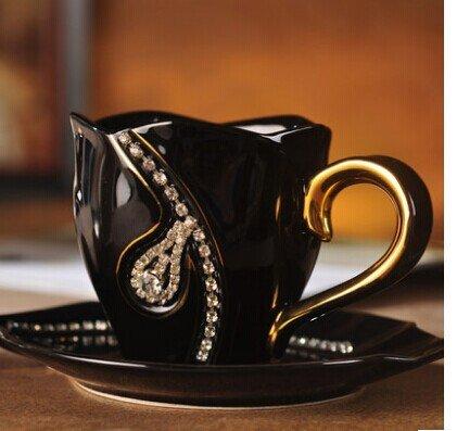 AJUNR-Feine Mode Diamond Keramik Schwarz Und Weiß Kaffee Tasse Teller Set Home Tee Tasse Keramiktasse Schwarz