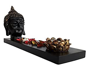 Tied Ribbons Buddha Tlight Holder With Tray Set With T-Light Candle