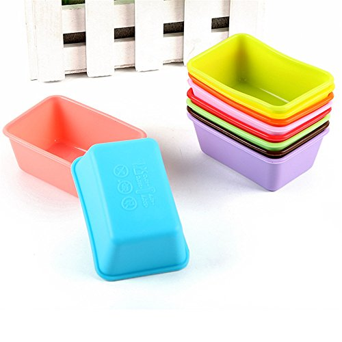 10PCs Silicone Cupcake Liner Bake Mold Muffin Cheesecake, Panna Cotta, Pudding, Jelly Shot and Soap Moulds(Square Shape)