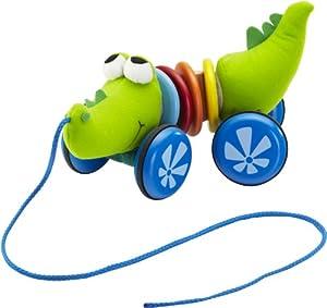 Soft Wood SW1222 - Juguete con Cuerda para Tirar, diseño de cocodrilo, Color Verde y Azul