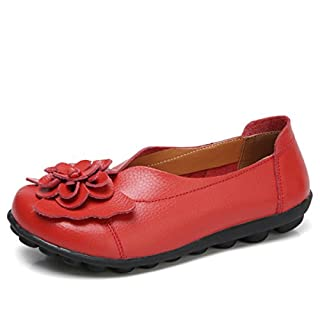 gracosy Women's Vintage Flat Flower Pattern Handmade Leather Shoes Spring Autumn Handmade Slip-On Loafers Outdoor Ladies Flat Sandals Casual Shoes Red 8 UK