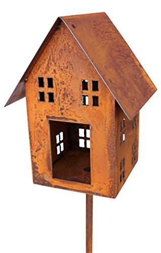 Blümelhuber Edelrost Vogelhaus Lichthaus am Stab Windlicht Gartendeko 148cm incl Stab