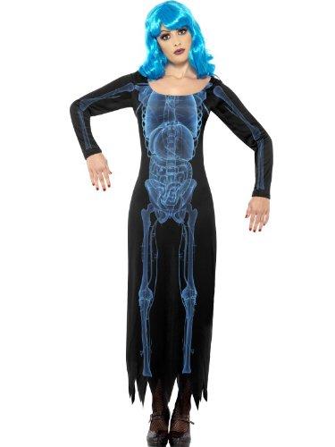 Smiffys X Ray Skelett Kostüm - Damen X-Ray Skelett Kleid mit Perücke,