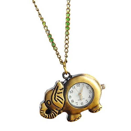 ESden Vintage Taschenuhr Quarz Elefant Tier geschnitzt Fashion Geschenke Charm Anhänger Halsband Kette Deko