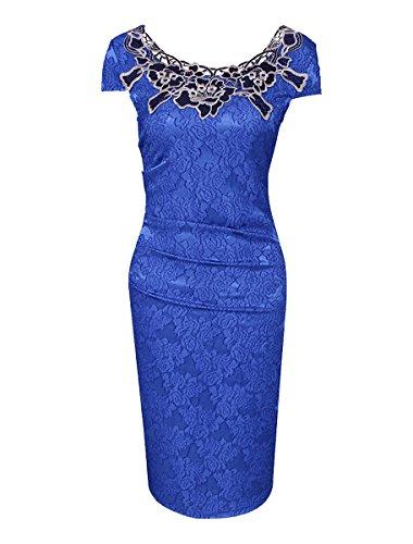 U8Vision Damen Elegant Rose Rundhals Spitze Stitching Kleid Business Etui Abendkleid Festkleid Cocktailkleid Marineblau Gr.S-XXXL Blau