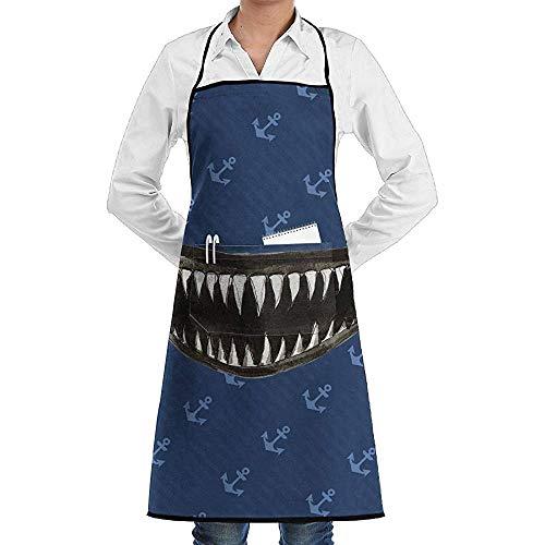 NA Scary Teeth Jaw of Shark Clipart Schürze Lace Mens Womens Chef einstellbar Polyester Lange volle Schwarze Küche Schürzen Lätzchen mit Taschen