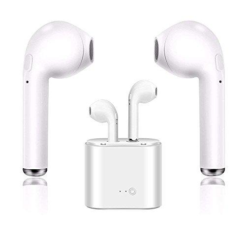 Preisvergleich Produktbild Wireless Headset Stereo Headset Bluetooth Headset mit Mikrofon Mini In-Ear Kopfhörer Kopfhörer Sport Kopfhörer Lade Box Kompatibel mit iPhone X 8 7 6 Plus Samsung (Weiß-1)