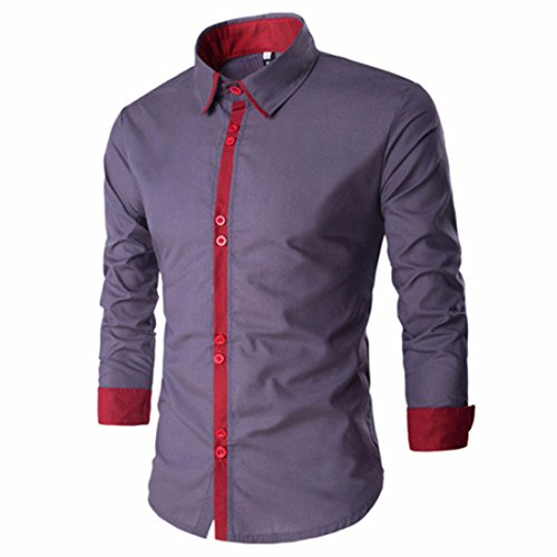Men's Pure Simplicity Square Collar Long Sleeve Casual Shirts Lt Gray