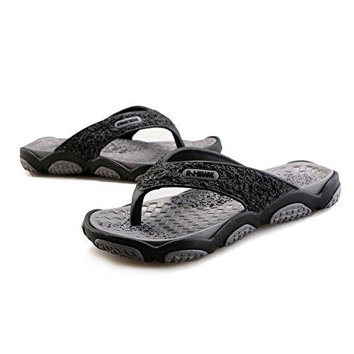 Bainasiqi Mens Perizoma Estate Scarpe Da Spiaggia Allaperto Per Il Tempo Libero Infradito Muli Ultralight Antiscivolo Pantofole Pantofola Nero-grigio