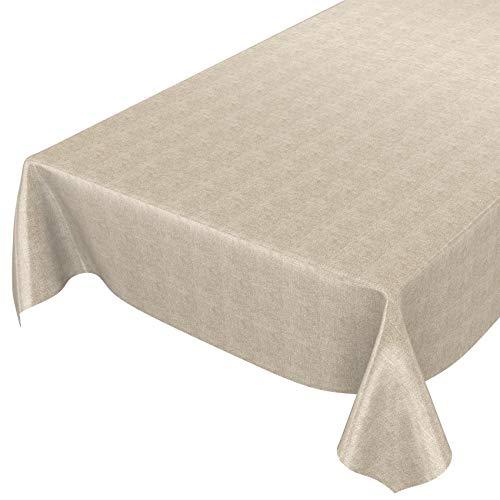 Anro - Tovaglia in tela cerata effetto lino, asciugamani PVC, Beige, 200 x 140 cm