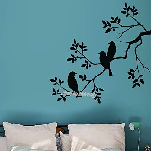 Vögel Auf Zweigen Wandtattoo Baum Zweig Vinyl Abnehmbare Aufkleber kindergarten kinder schlafzimmer wohnzimmer kunstwand poster 42X42CM -