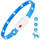 kolpop LED Safety Dog Collar, USB Rechargeable Flashing Pet Dog Collar with 3 Modes, Fashion Waterproof Light Up Dog Collar for Small Medium Large Dogs and Cats (Blue)