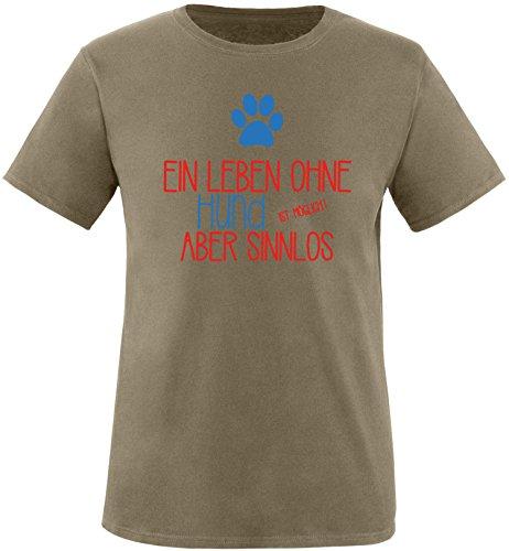 EZYshirt® Ein Leben ohne Hund ist möglich ! Aber sinnlos Herren Rundhals T-Shirt Olive/Rot/Blau