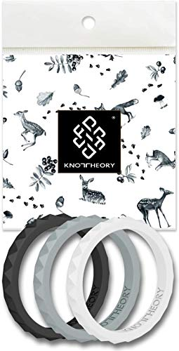 Knot Theory Stackable Silicone Wedding Ring Bands for Women - Black, Grey, White - Harmony 3-Pack Size 5 - Expert Color Coordinated - Ultra Comfortable, Slim, Elegant