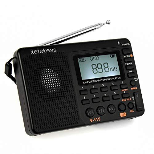Retekess V115 Radio Am FM portátil con Reproductor MP3 de Radio de Onda Corta,  Color Negro
