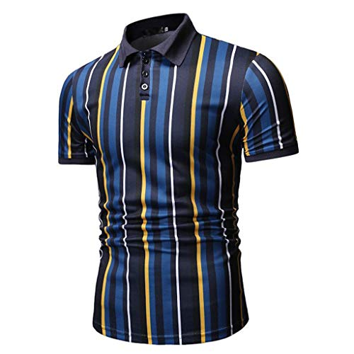 Herren Stripe Button Slim Fit Umlegekragen Kurzarm Top Hemd Bluse Zolimx