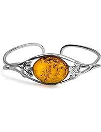 Honey Amber Sterling Silver Oval Adjustable Bangle Bracelet 18 cm