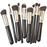 Puna Store 10 Piece Makeup Brush Set, PS-540, Black/Silver