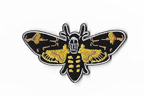 MemelBurg Totenkopf Hawk Moth Patch DIY bestickt Eisen oder auf Abzeichen Applique Horror Film Stille der Lämmer roten Drachen Souvenir DIY Kostüm ()