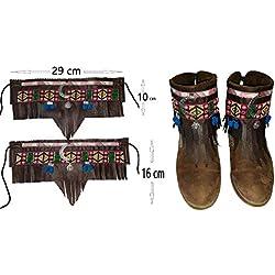 Cubrebotas y botines Étnico Country Boho Cowboy Ancho Marrón Sol y Luna Color de polipiel a elegir en opciones