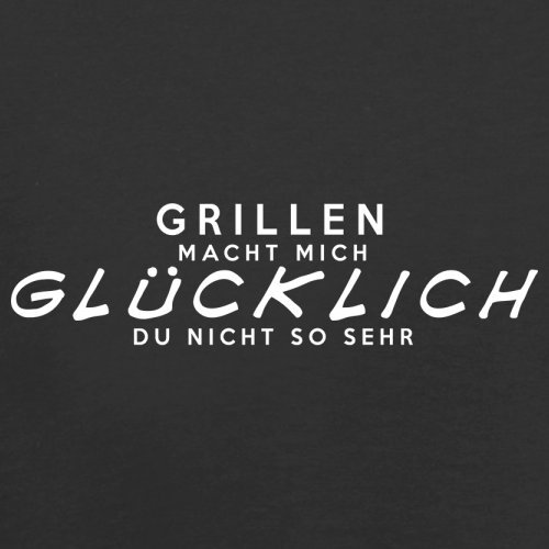 Grillen macht mich glücklich - Herren T-Shirt - 13 Farben Schwarz