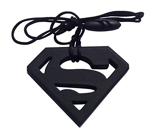 chewelry Chewy Halskette Autismus beißanhänger Autismus Schmuck Zahnen Therapie Spielzeug für ADHD Beißen & besonderen Bedürfnissen Kinder/Erwachsene mit zu Beißen Kauen/zappeln schwarz