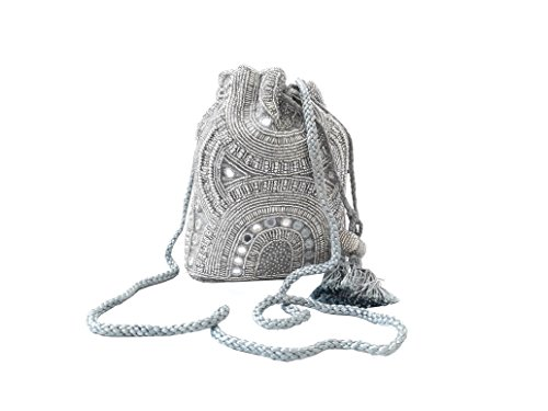 HimalayaHandicraft Women's Silver Silk Potli Purse