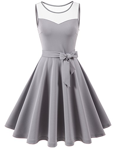 Grau Cocktail (Homrain Damen Elegant 1950er Vintage Retro Rundausschnitt falten knielang festlich Party Cocktail Abendkleid Grey M)