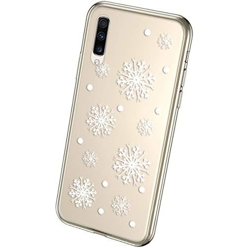 QPOLLY Kompatibel mit Samsung Galaxy A50 Handyhülle Transparent Silikon mit Niedlich Muster Weihnachten Schneeflocke Kristallklar Ultra Dünn Weich TPU Bumper Hülle für Galaxy A50#17
