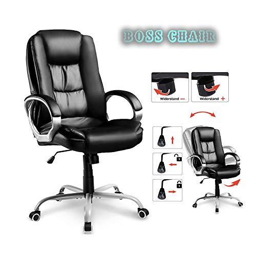 GJQDDP E-Sport Stuhl, Bürostühle Chefsessel Chefsessel Bürodrehstuhl Bürostuhl 360 ° Drehstuhl Ergonomischer Design-Chefsessel mit hoher Rückenlehne, PU-Leder, schwarz