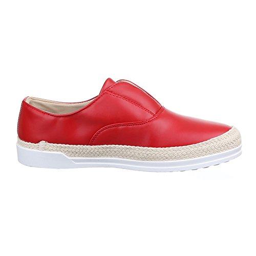 Damen Schuhe Moderne Low-Top Slipper Halbschuhe Ital-Design Rot