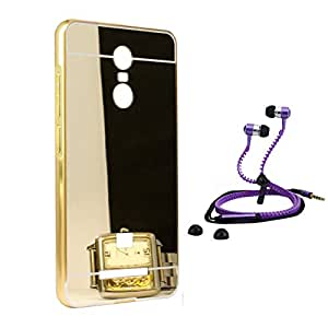 Droit Luxury Metal Bumper + Acrylic Mirror Back Cover Case For + Redmi Note3 Stylish Zipper Handfree and Good QualitySound by Droit Store.