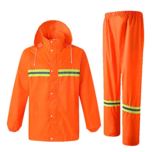 DUOER home Hi Vis Viz & Plain Rainsuit 2 Piece High Visibility Männer Kapuzen-Regenanzug Jacke & Hose wasserdichte Arbeitskleidung Regenbekleidung (Color : Orange, Größe : XXL) Orange Rainsuit